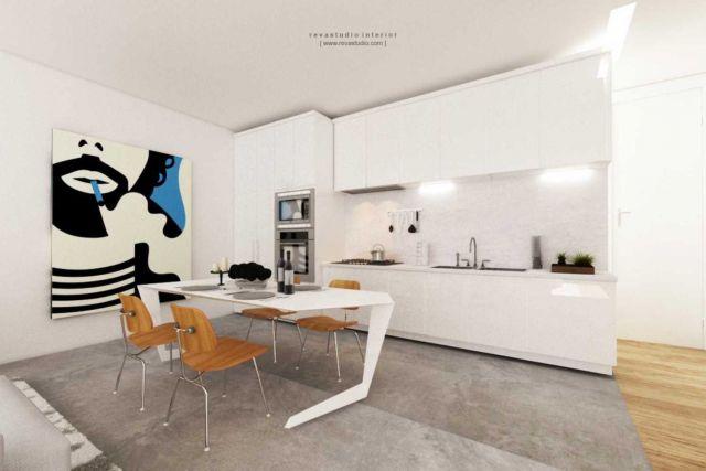 Ruang makan yang menyatu dengan dapur di Silviana Lowis by Revano Satria